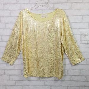 Chicos yellow metallic detail blouse size 3